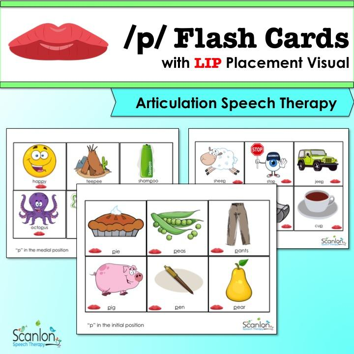p sound, articulation, speech therapy, flashcards