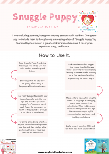 Snuggle Puppy Worksheet How to Elicit Language using this playful book