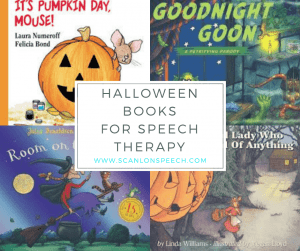 Halloween books, speech therapy