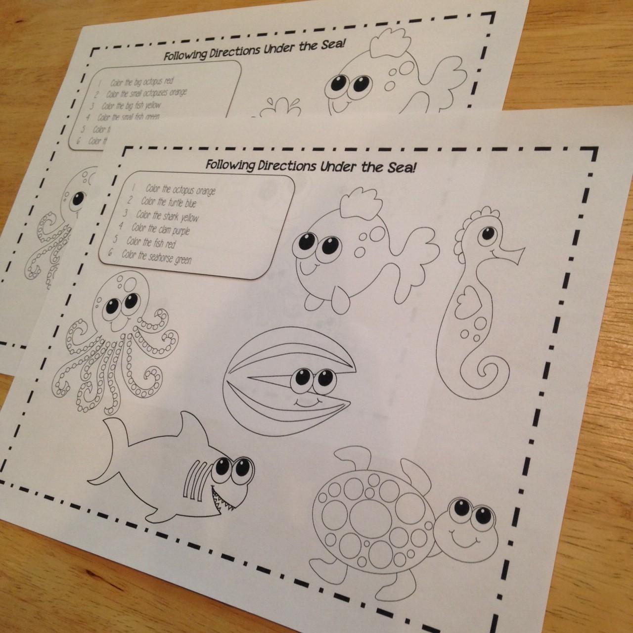 Ocean Animals: Coloring Sheets