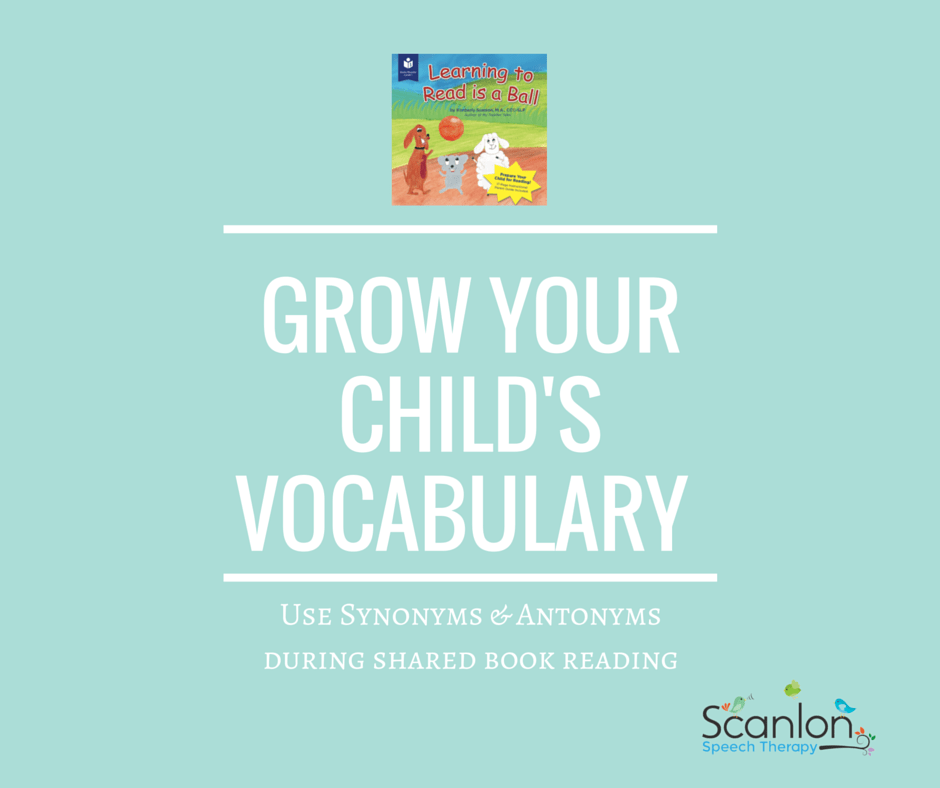 synonyms and antonyms, shared book reading, vocabulary development