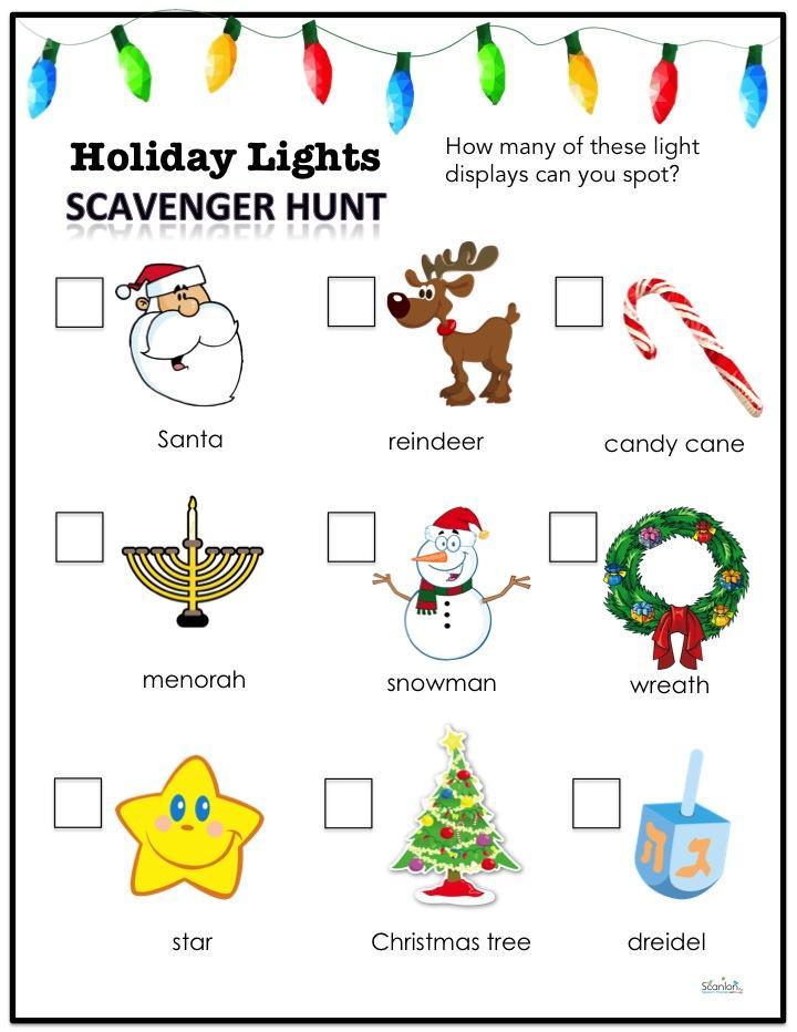 Holiday lights scavenger hunt