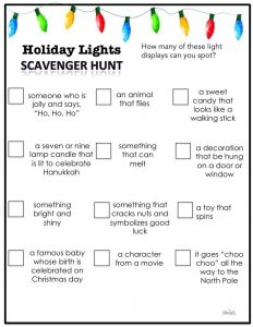 Holiday lights scavenger hunt with riddles