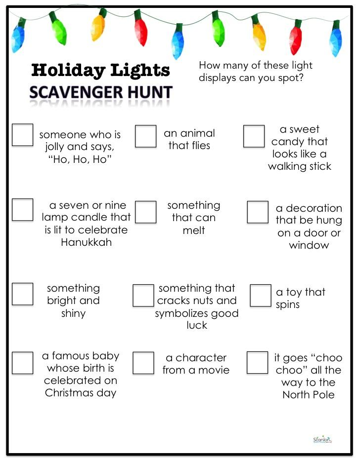 Holiday lights scavenger hunt with riddles