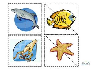 ocean animals, puzzle pieces