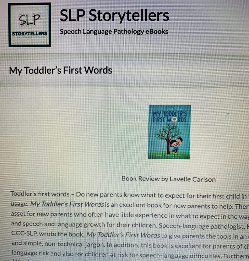 My Toddler's First Words, Lavelle Carlson, SLP Storytellers