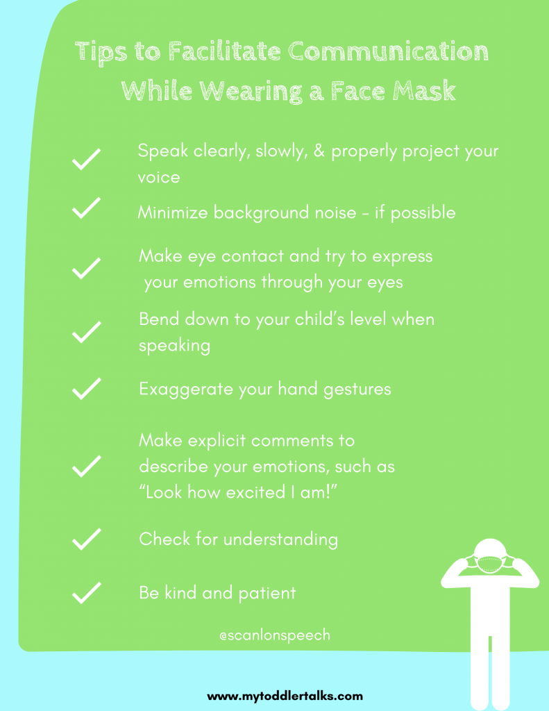 face masks and language development, communication tips while wearing a face mask