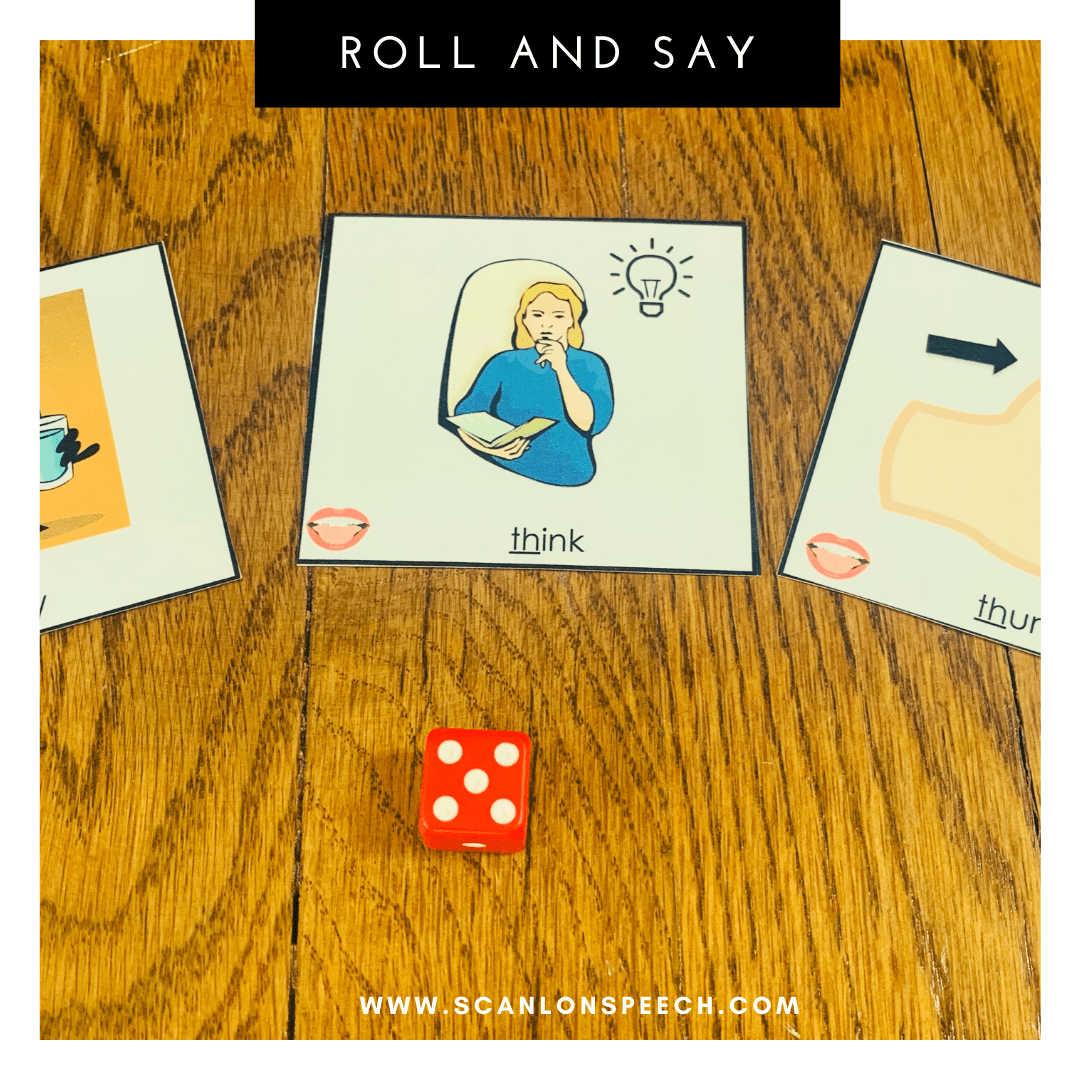 Roll and Say - a fun way to elicit multiple repetitions during your articulation speech therapy sessions.