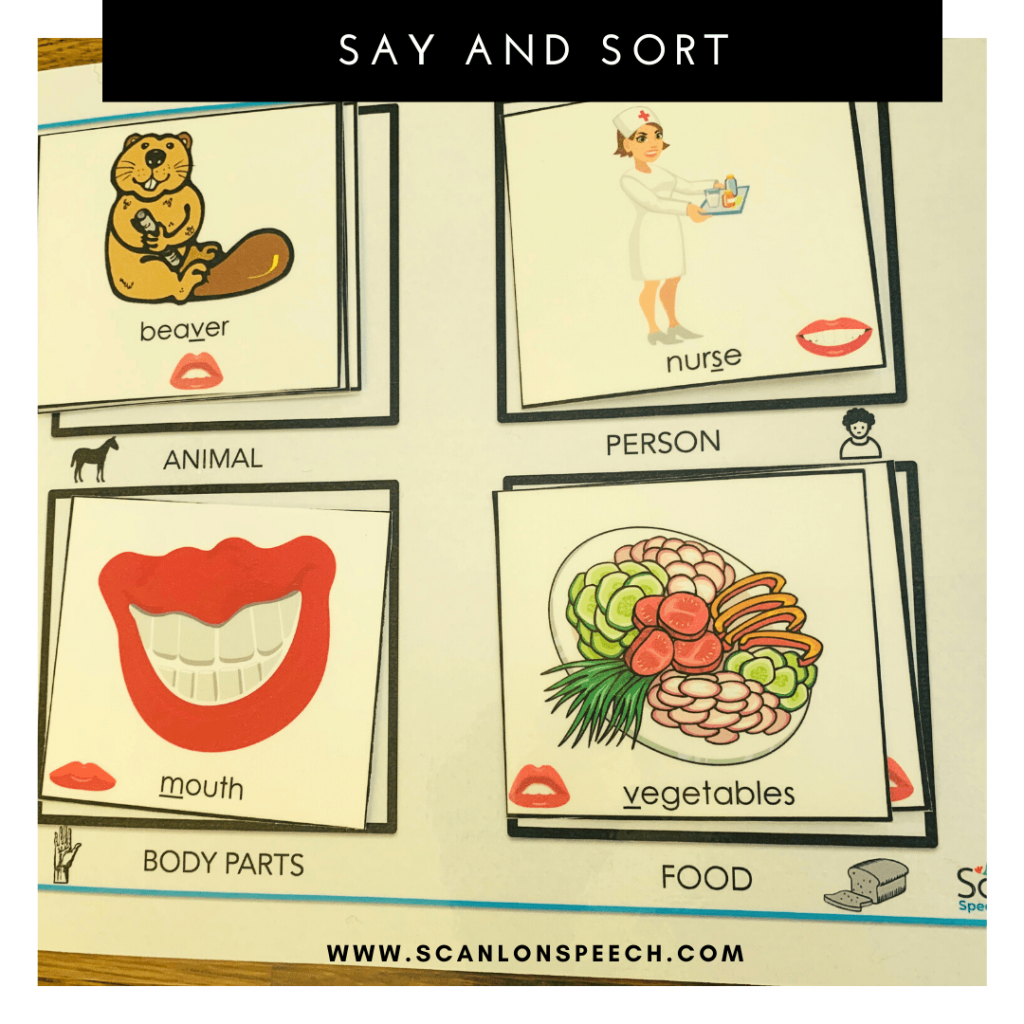 Say and Sort multiple repetitions for articulation speech therapy.