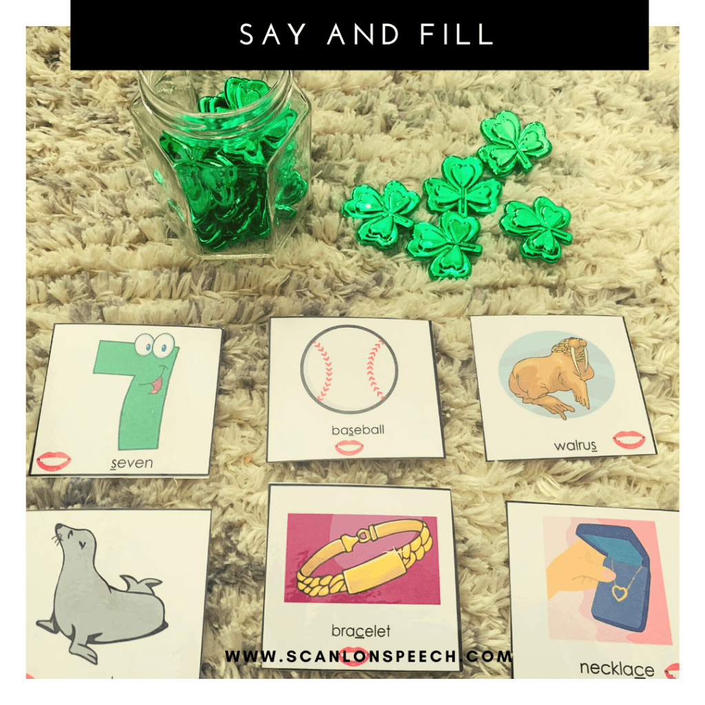 Say and Fill - a fun way to elicit multiple repetitions during articulation speech therapy.