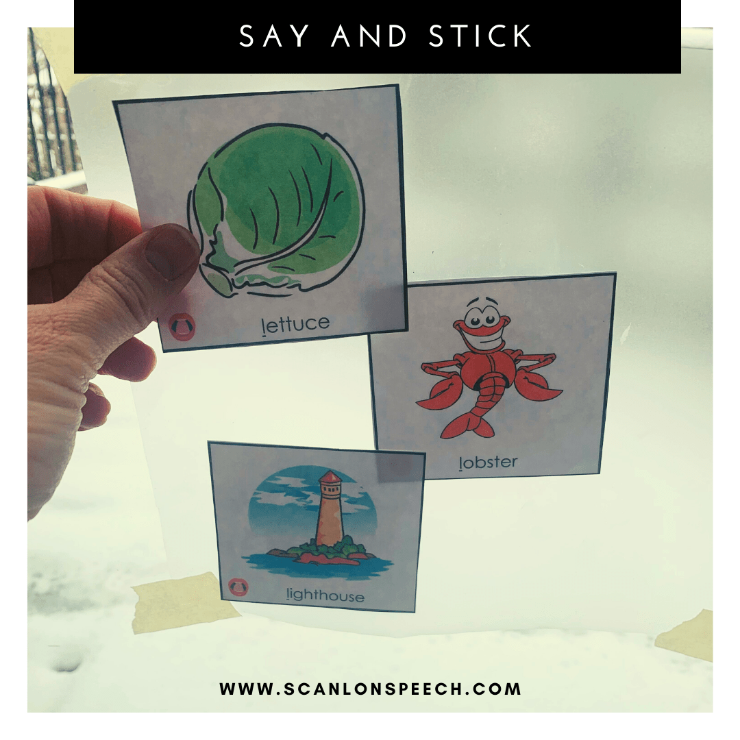 Say and Stick - a fun way to elicit multiple repetitions during your speech therapy sessions.
