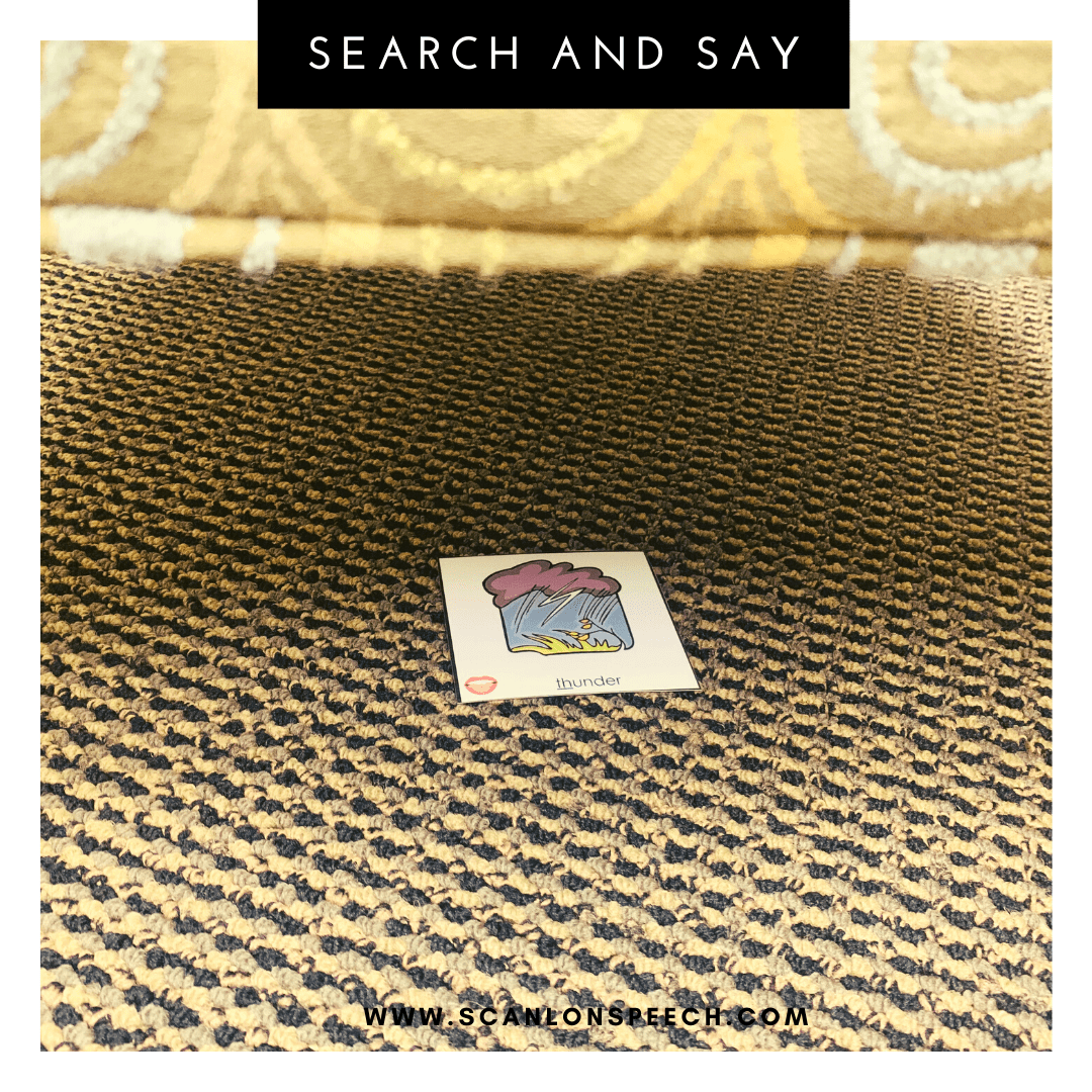 Search and Say - a fun way to elicit multiple repetitions for your articulation speech therapy.
