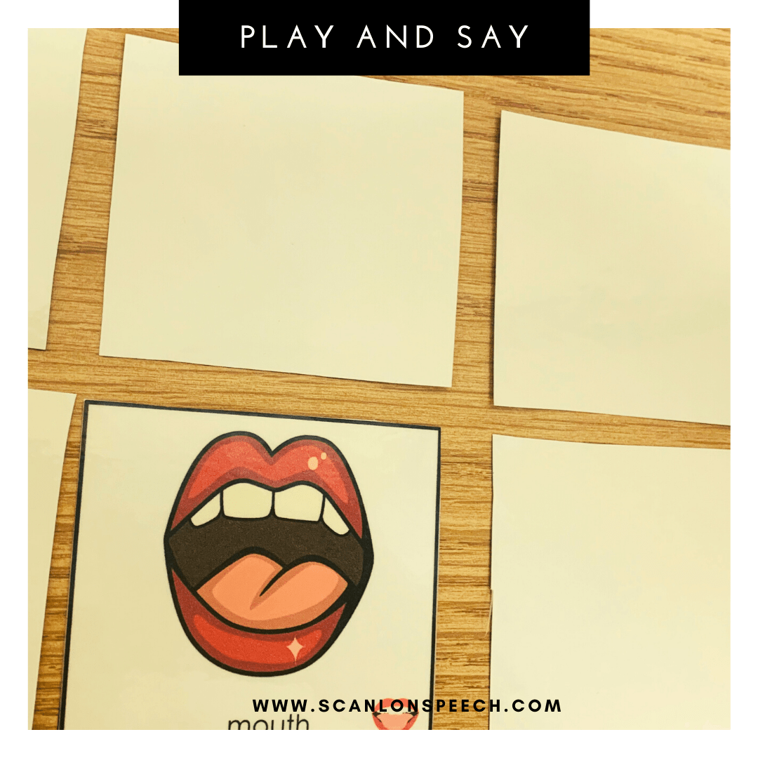 Say and Play - a fun way to elicit multiple repetitions during articulation speech therapy.