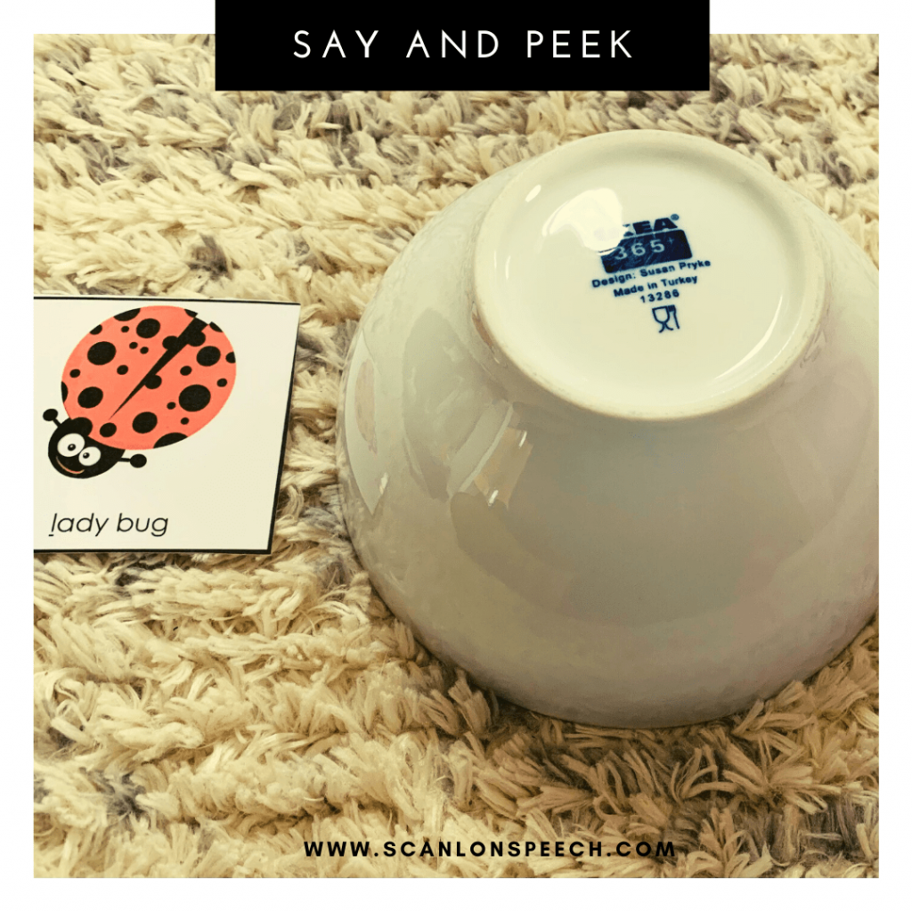 Say and Peek - a fun way to elicit multiple repetitions during articulation speech therapy.
