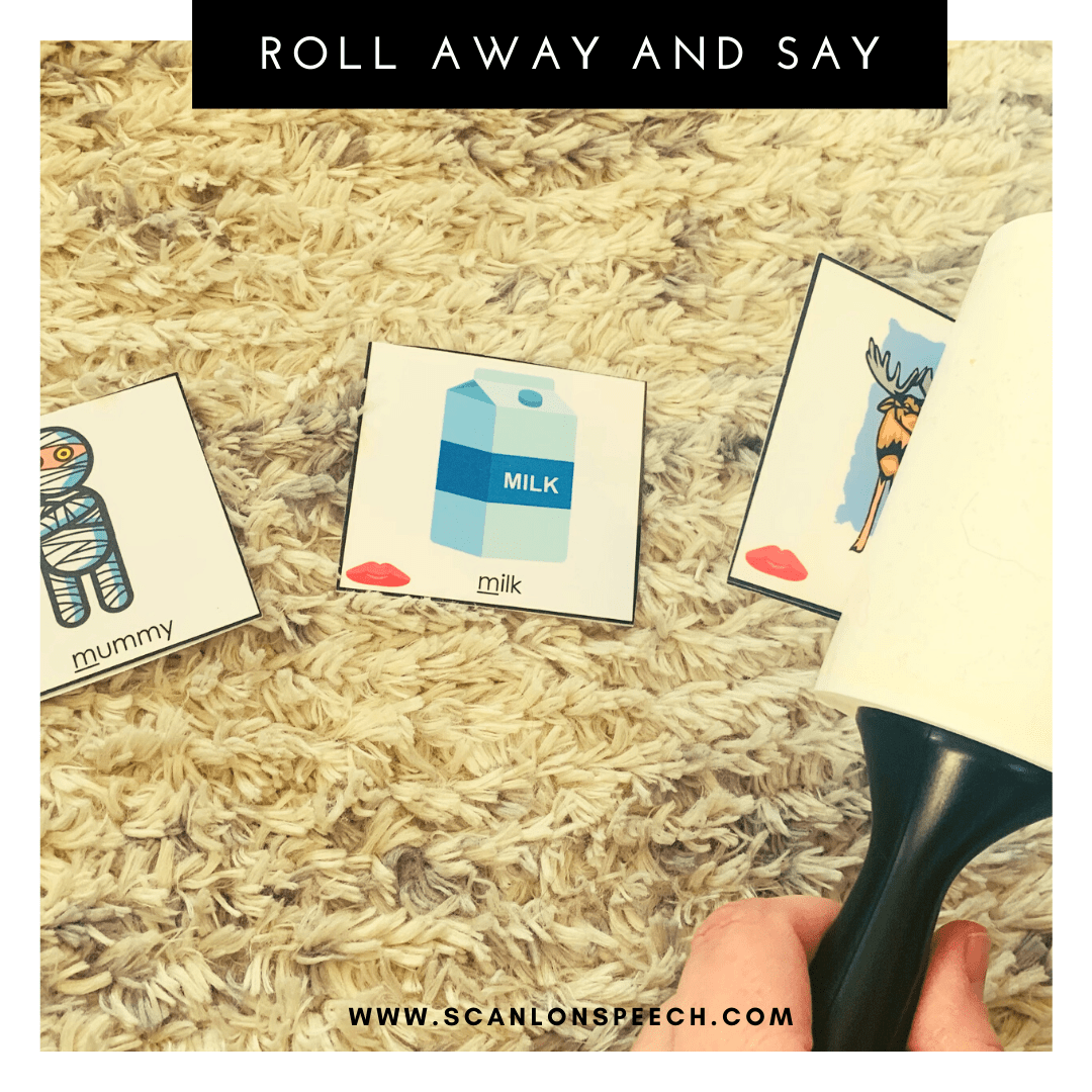 Roll Away and Say - a fun way to elicit multiple repetitions during your speech therapy sessions.