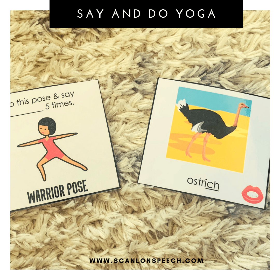 Say and Do Yoga multiple repetitions for articulation speech therapy.