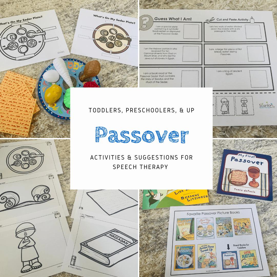 Passover, speech therapy, activities
