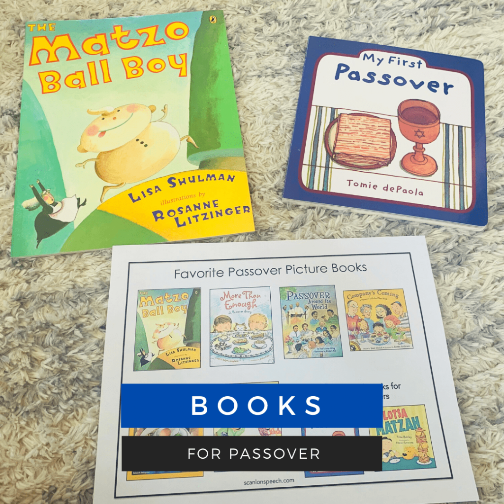Read picture books about Passover for vocabulary building in speech therapy