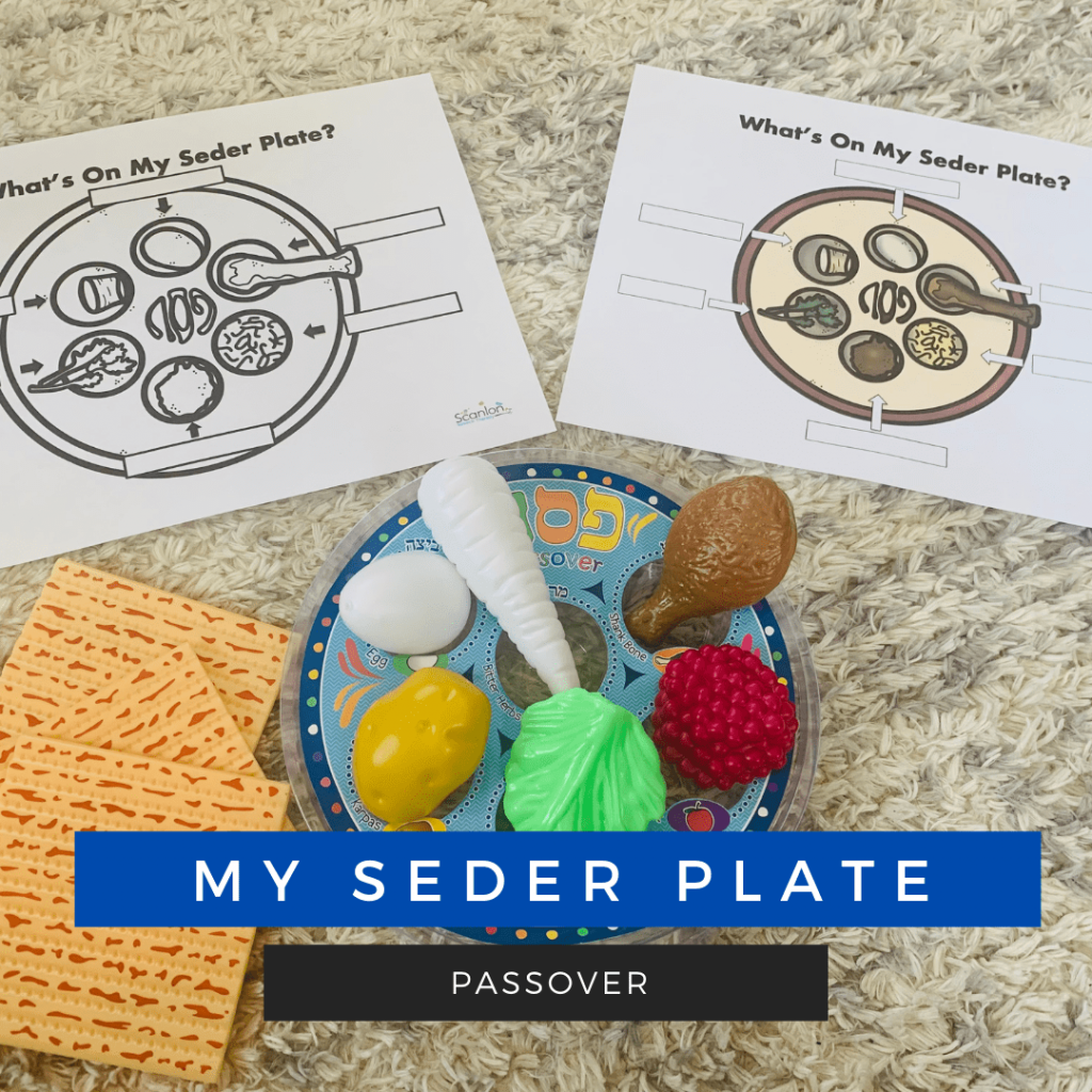 What's on my seder table and plate. A vocabulary building activity for Passover. Speech Therapy
