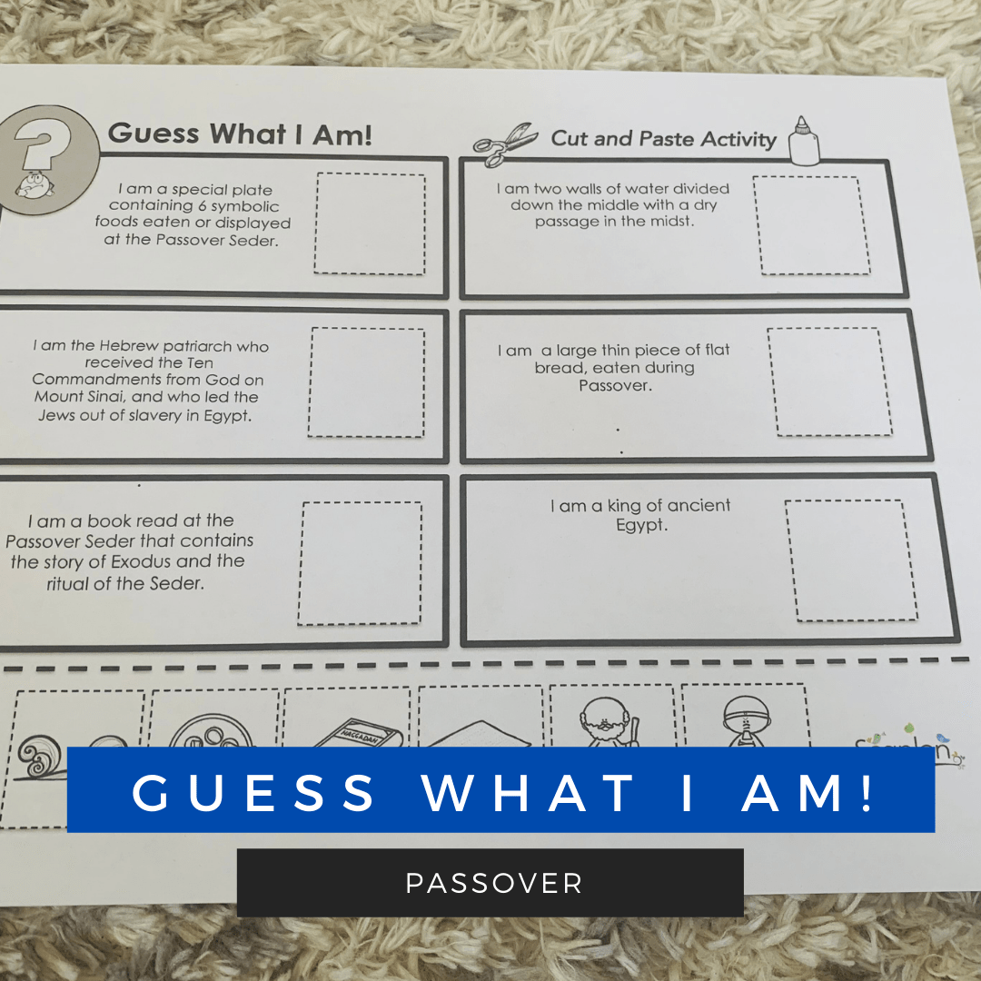 Guess What I Am! Cut and Paste Vocabulary Building Activity for Passover