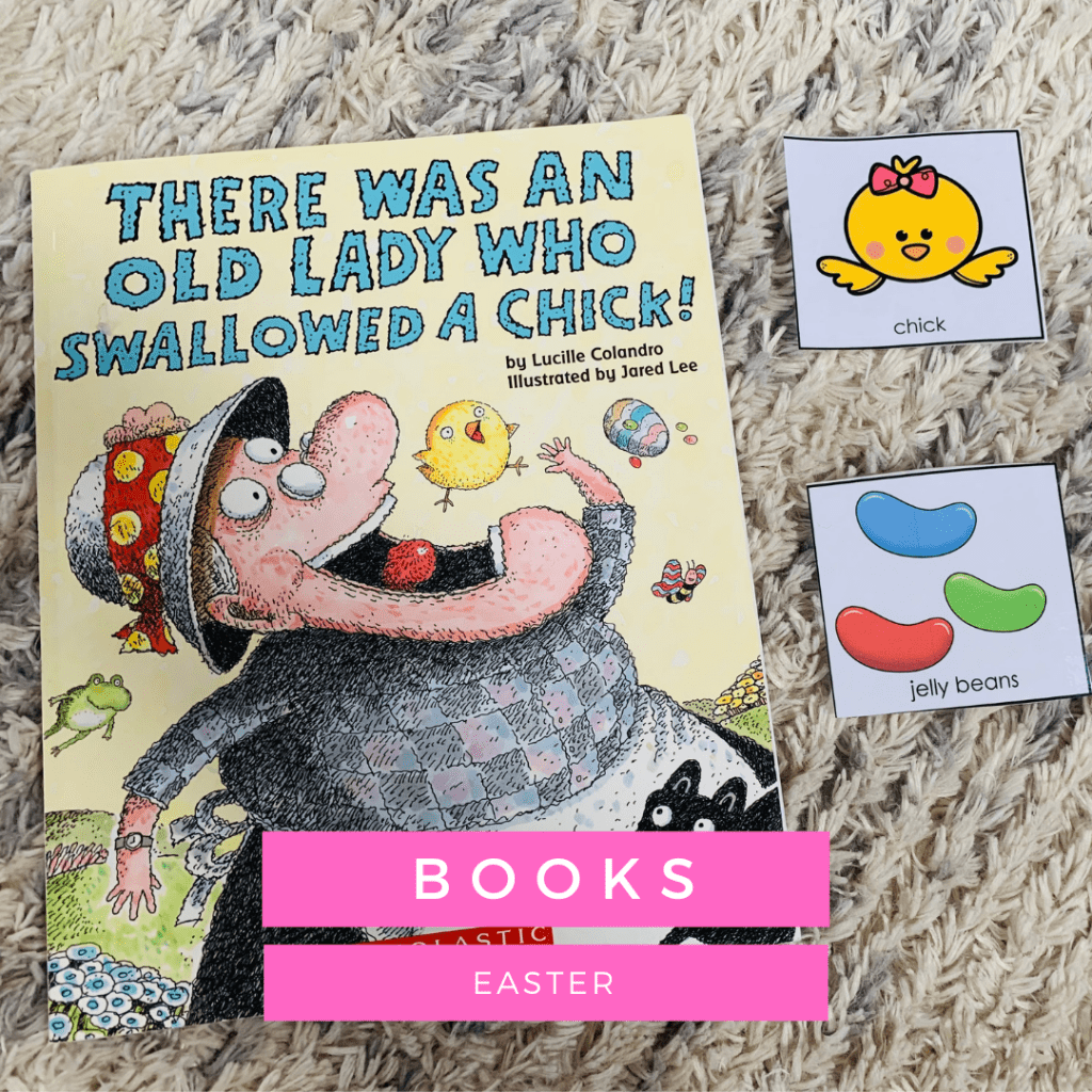 Easter books for speech therapy sessions - There Was An Old Lady Who Swallowed a Chick