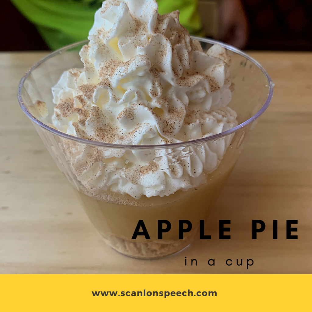 apple pie in a cup, speech therapy