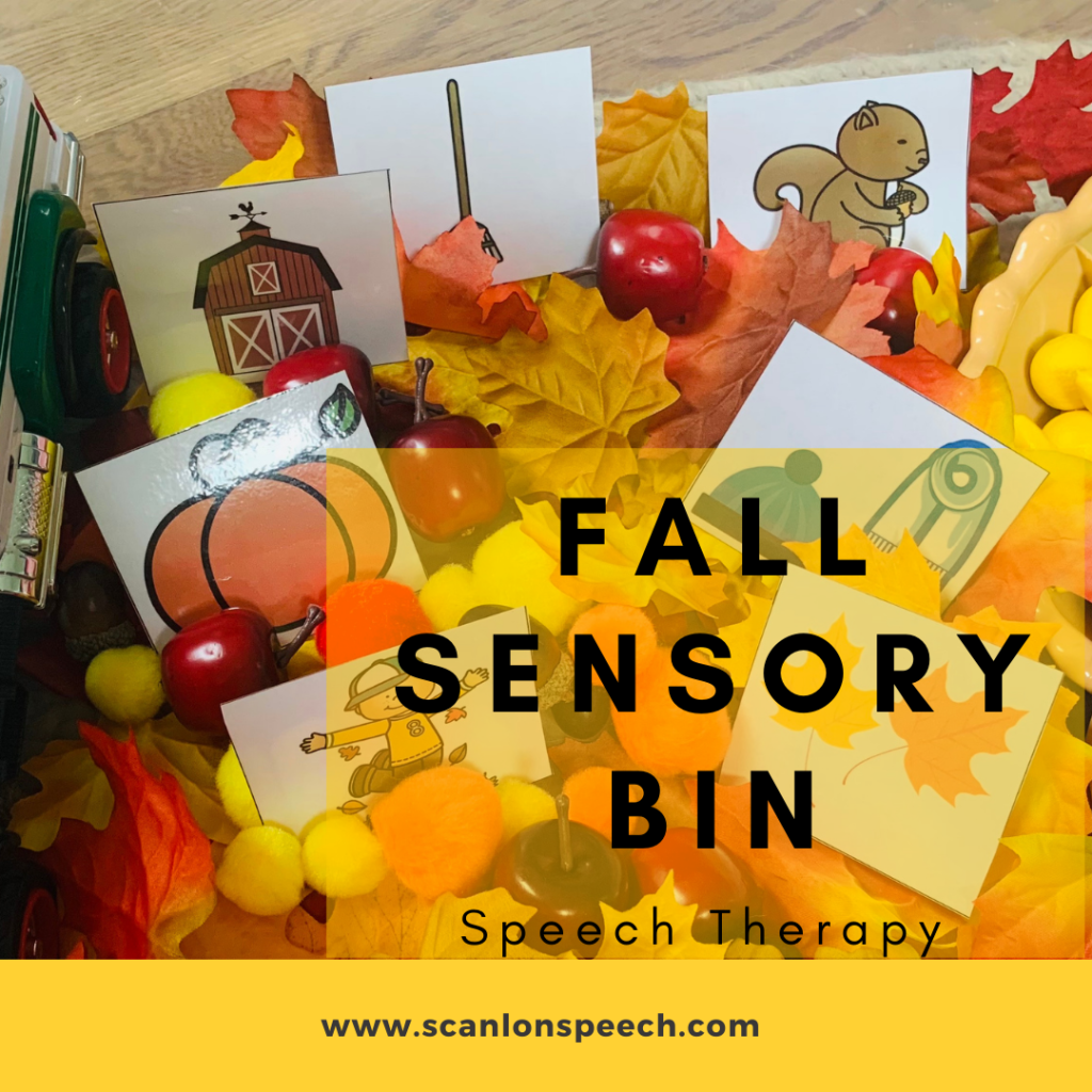 fall sensory bin, speech therapy